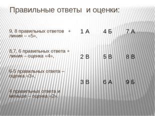 Правильные ответы и оценки: 9, 8 правильных ответов + линия – «5», 8,7, 6 пра