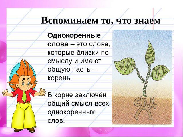Вспоминаем то, что знаем Однокоренные слова – это слова, которые близки по см...