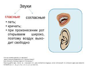 Звуки Что мы можем делать со звуками? Звуки ученые разделили на 2 группы Как