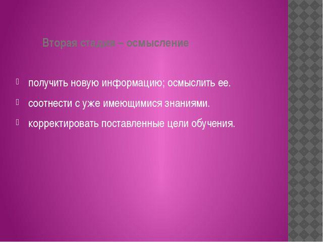 Вторая стадия – осмысление получить новую информацию; осмыслить ее. соотнест...