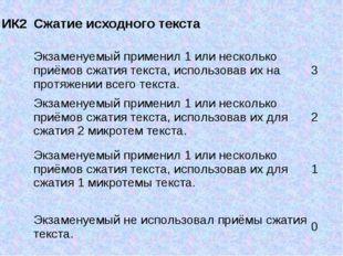 ИК2 Сжатие исходного текста Экзаменуемый применил 1 или несколько приёмов сж