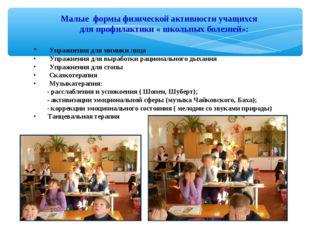 Малые формы физической активности учащихся для профилактики « школьных болезн