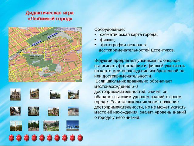 Дидактическая игра «Любимый город» Оборудование: схематическая карта город...
