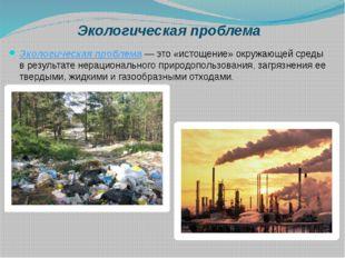 Экологическая проблема Экологическая проблема— это «истощение» окружающей с