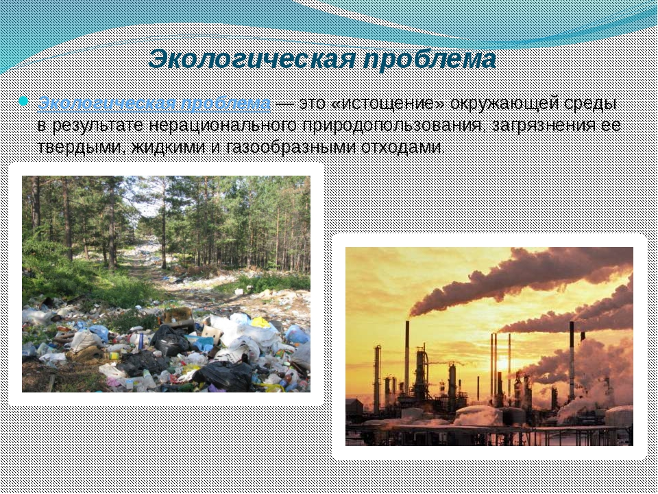 Экологическая проблема Экологическая проблема— это «истощение» окружающей с...