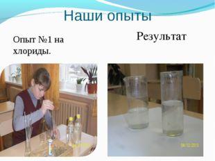 Наши опыты Опыт №1 на хлориды. Результат