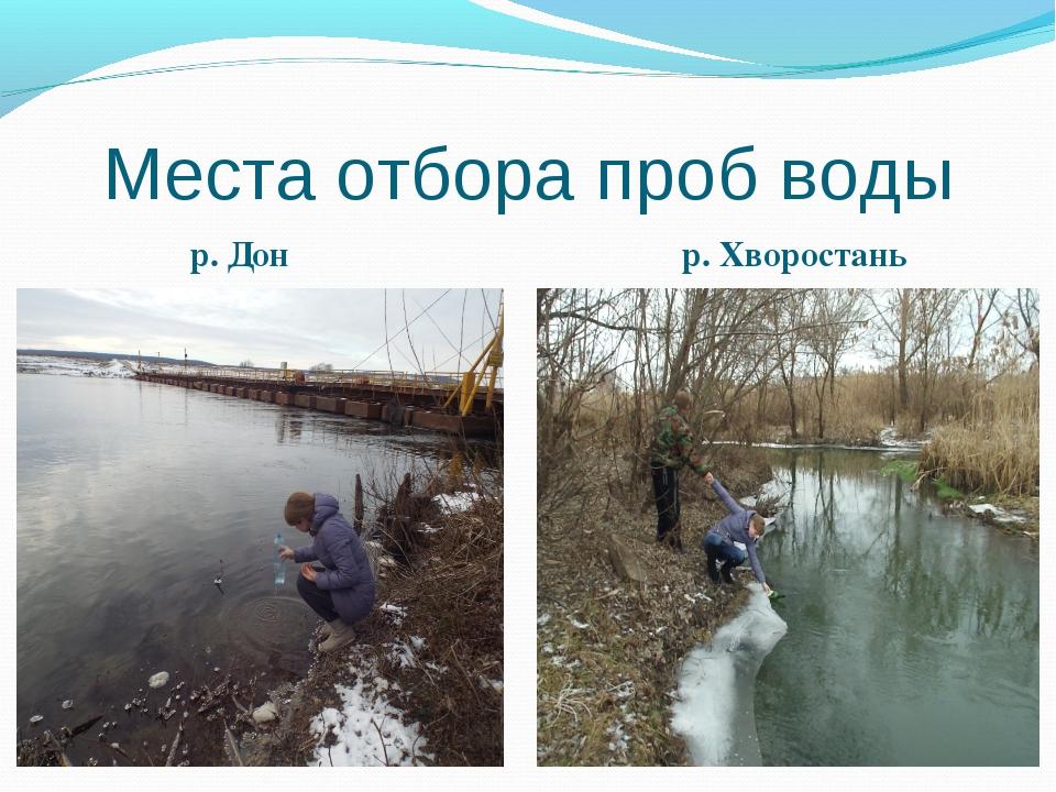 Места отбора проб воды р. Дон р. Хворостань Р. Дон р.