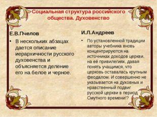 Социальная структура российского общества. Духовенство Е.В.Пчелов В нескольки