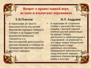 Вопрос о православной вере, исламе и языческих верованиях Е.В.Пчелов В парагр