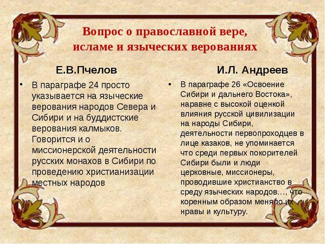 Вопрос о православной вере, исламе и языческих верованиях Е.В.Пчелов В парагр...