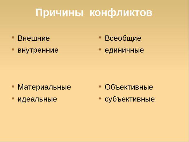 Причины конфликтов Внешние внутренние Всеобщие единичные Объективные субъекти...