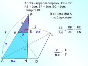 2 2 ADСD – параллелограмм. OF BC AB = 2см, BF = 5см, ВС = 9см. Найдите BЕ. B