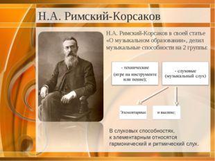 Н.А. Римский-Корсаков Н.А. Римский-Корсаков в своей статье «О музыкальном обр
