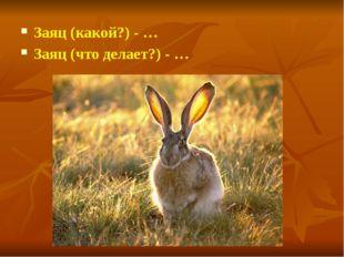Заяц (какой?) - … Заяц (что делает?) - …