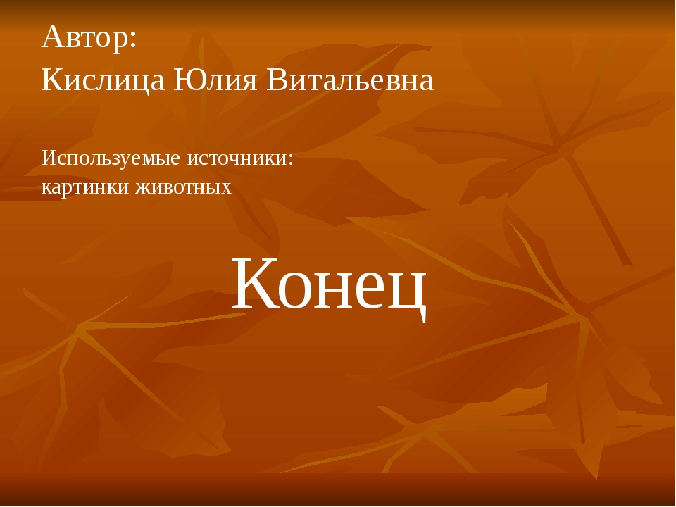 Автор: Кислица Юлия Витальевна Используемые источники: картинки животных Конец