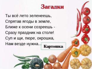Ты всё лето зеленеешь, Спрятав ягоды в земле, Ближе к осени созреешь - Сразу