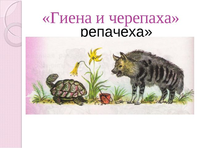 «Енаги и репачеха» «Гиена и черепаха»