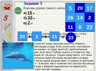 Задание 5 Какова длина синего кита? а) 15 м б) 33 м в) 2 м Запишите в пустые