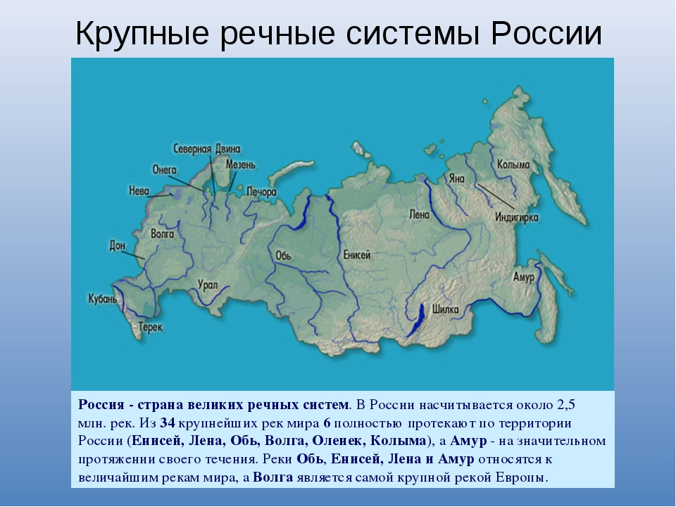Крупные речные системы России Россия - страна великих речных систем. В России...