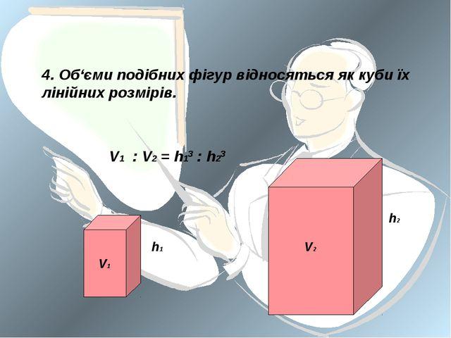 4. Об'єми подібних фігур відносяться як куби їх лінійних розмірів. V1 V2 h1 h...