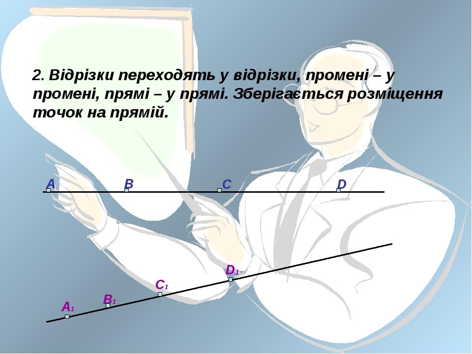 2. Відрізки переходять у відрізки, промені – у промені, прямі – у прямі. Збер...