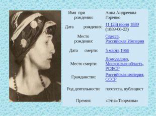 Имя при рождении: Анна Андреевна Горенко Датарождения: 11 (23) июня1889(1889-