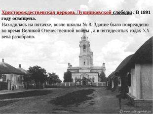 Христорождественская церковь Лушниковской слободы. В 1891 году освящена. На