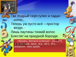 Образец: Великий (ученый) – (какой?), н.ф. великий, прил., м.р., ед.ч., И.п