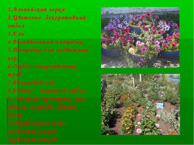 1.Альпийская горка 2.Цветочно- декоративный отдел 3.Ели 4.Волейбольная площад...