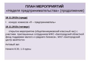 ПЛАН МЕРОПРИЯТИЙ «Неделя предпринимательства»(продолжение) 18.11.2015г.(сред