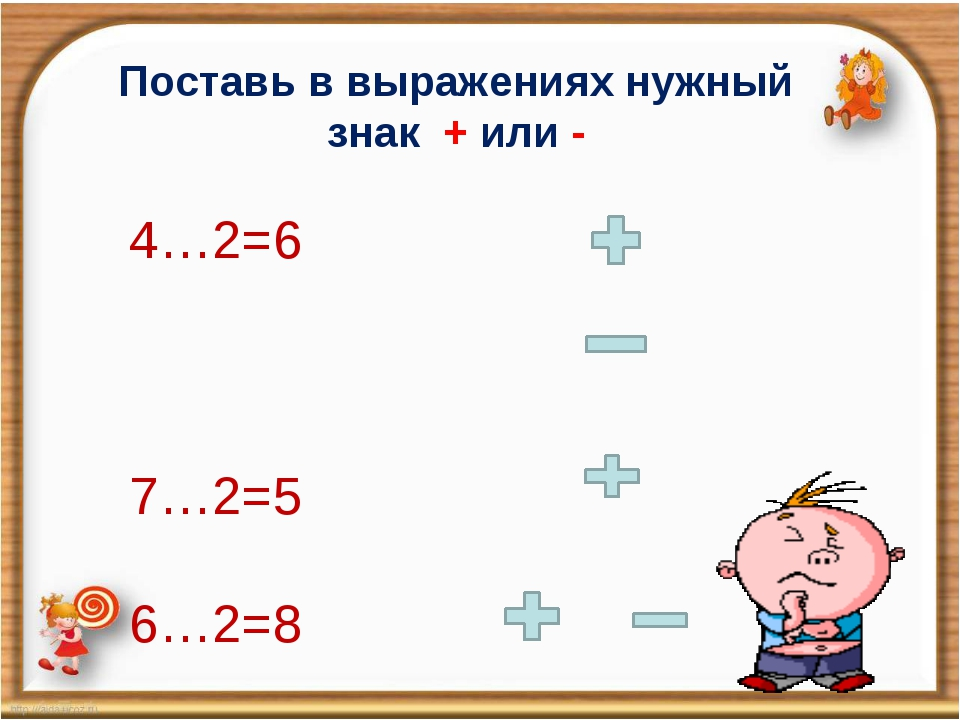 1 Поставь в выражениях нужный знак + или - 4…2=6 7…2=5 6…2=8 8…0=8