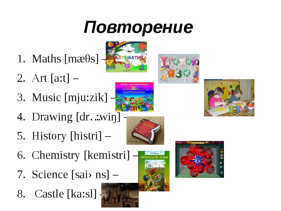 Повторение Maths [mæθs] – Art [a:t] – Music [mju:zik] – Drawing [drɔ:wiŋ] – H...