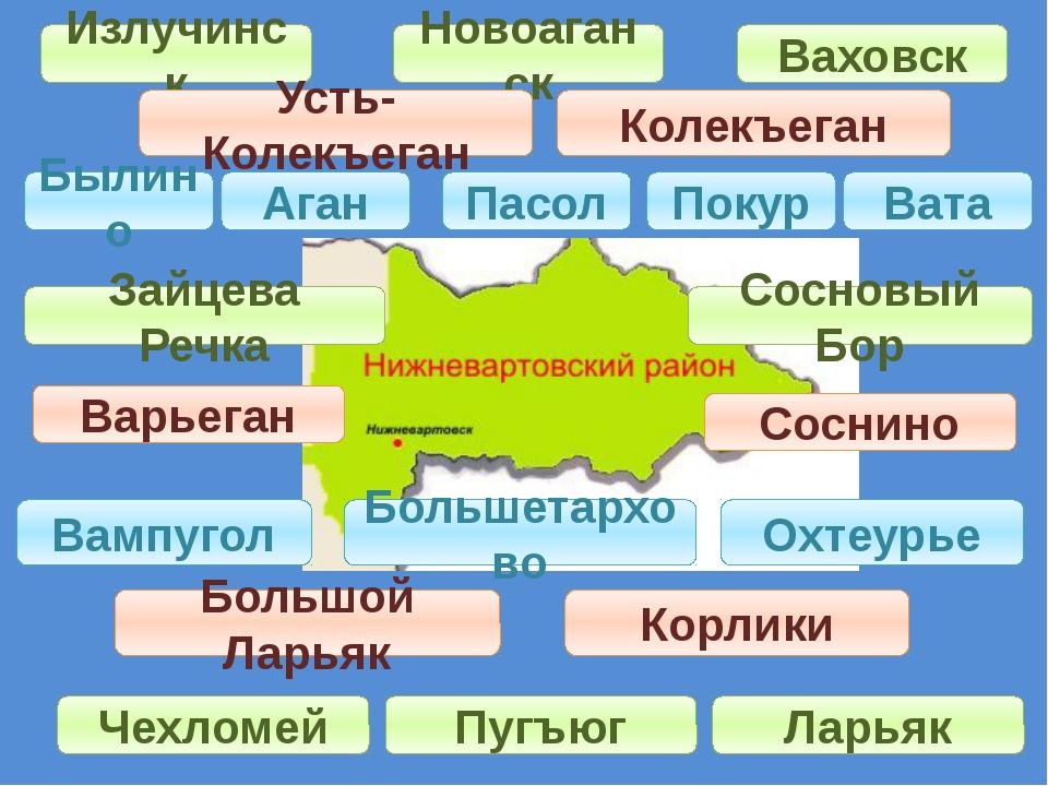 Излучинск Ваховск Новоаганск Усть-Колекъеган Колекъеган Былино Аган Покур Ват...