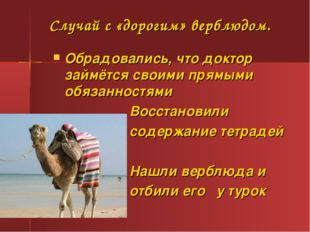 Случай с «дорогим» верблюдом. Обрадовались, что доктор займётся своими прямым