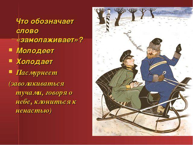 Что обозначает слово «замолаживает»? Молодеет Холодает Пасмурнеет (заволакив...