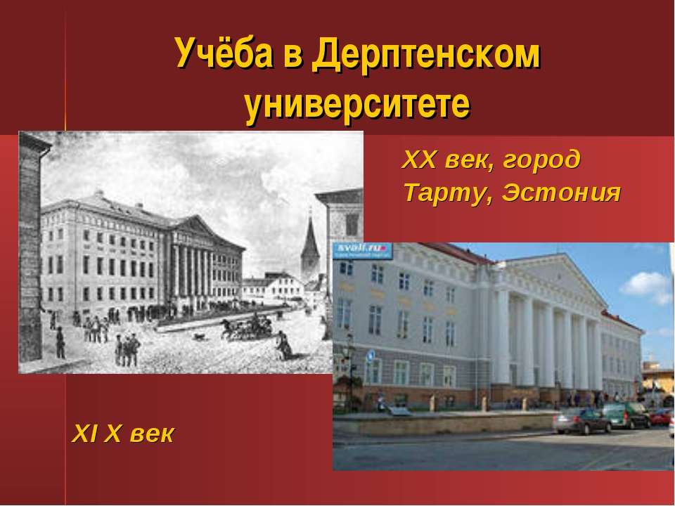 Учёба в Дерптенском университете ХI Х век ХХ век, город Тарту, Эстония
