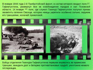 В январе 1944 года 2-й Прибалтийский фронт, в состав которого входил полк ГГ.