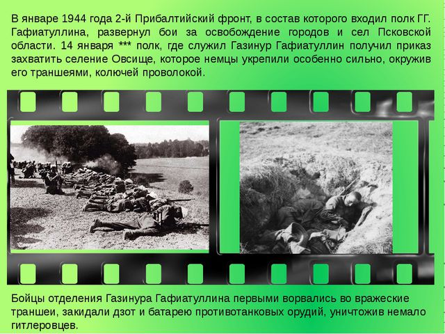 В январе 1944 года 2-й Прибалтийский фронт, в состав которого входил полк ГГ....