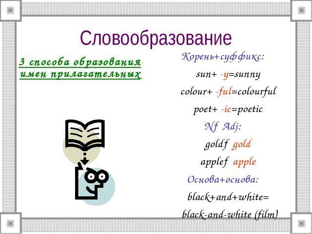 Словообразование 3 способа образования имен прилагательных Корень+суффикс: su...