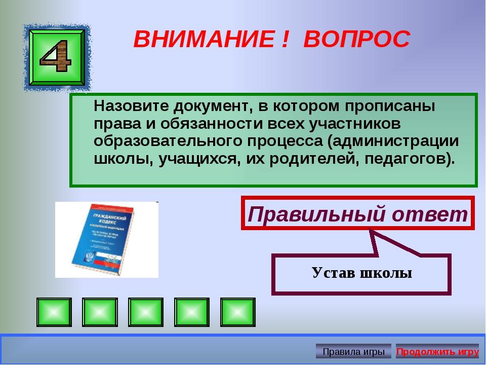 ВНИМАНИЕ ! ВОПРОС Назовите документ, в котором прописаны права и обязанности...