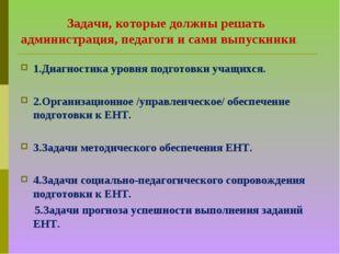 Задачи, которые должны решать администрация, педагоги и сами выпускники. 1.Д