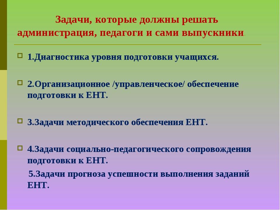 Задачи, которые должны решать администрация, педагоги и сами выпускники. 1.Д...