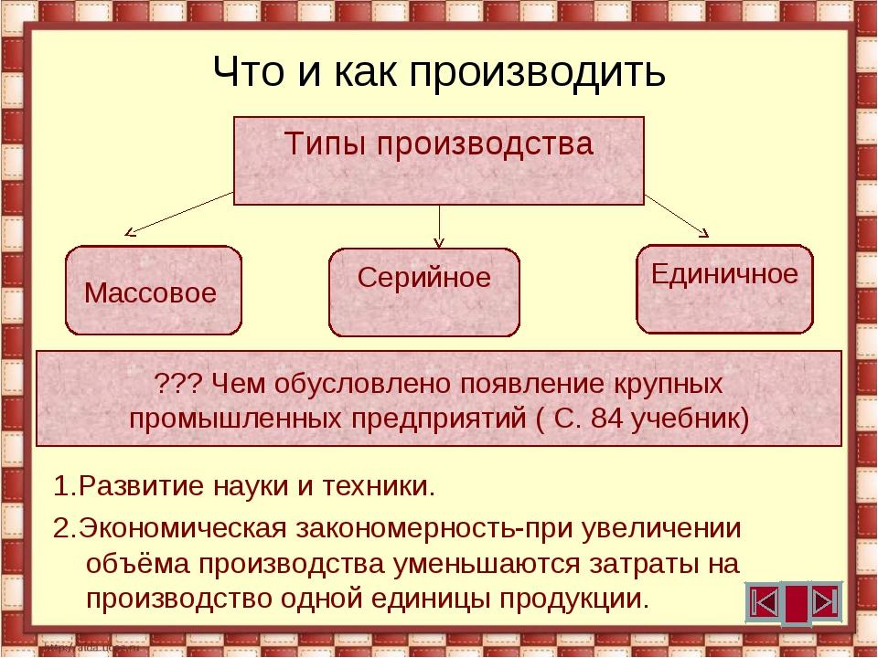 Что и как производить 1.Развитие науки и техники. 2.Экономическая закономерно...