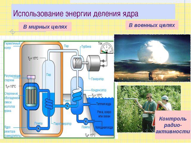 Использование энергии деления ядра В мирных целях В военных целях Контроль ра...