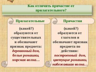 http://aida.ucoz.ru Как отличить причастие от прилагательного? Прилагательные