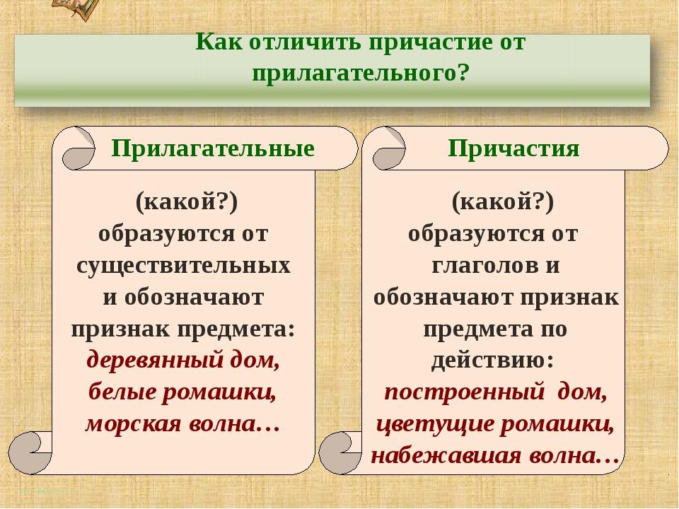 http://aida.ucoz.ru Как отличить причастие от прилагательного? Прилагательные...