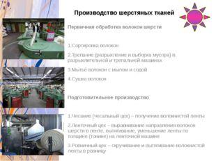 Производство шерстяных тканей Первичная обработка волокон шерсти 1.Сортировка
