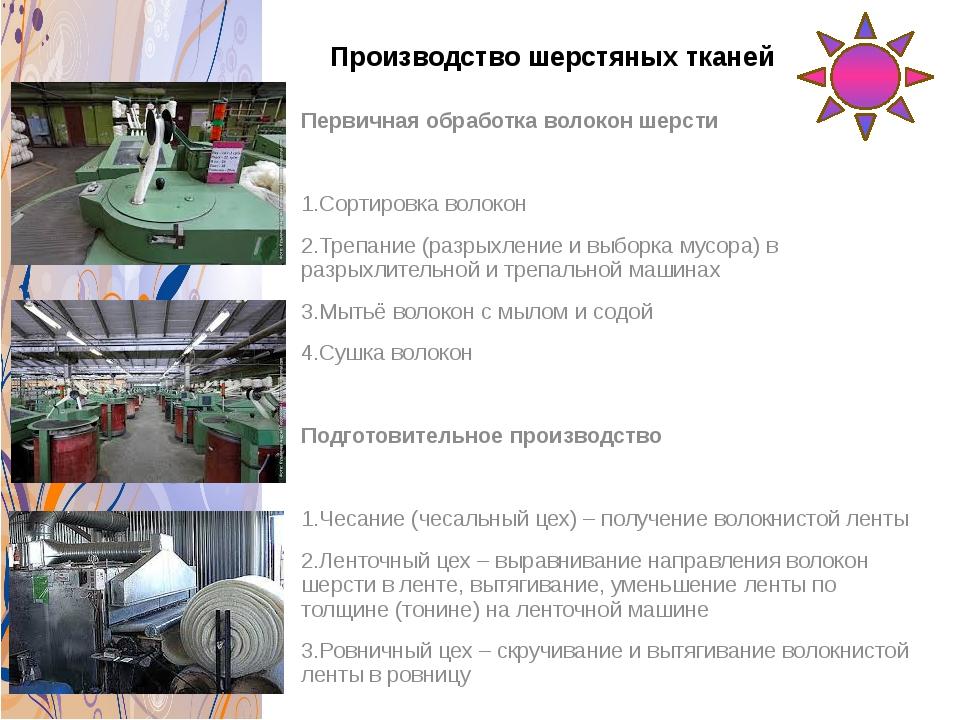 Производство шерстяных тканей Первичная обработка волокон шерсти 1.Сортировка...