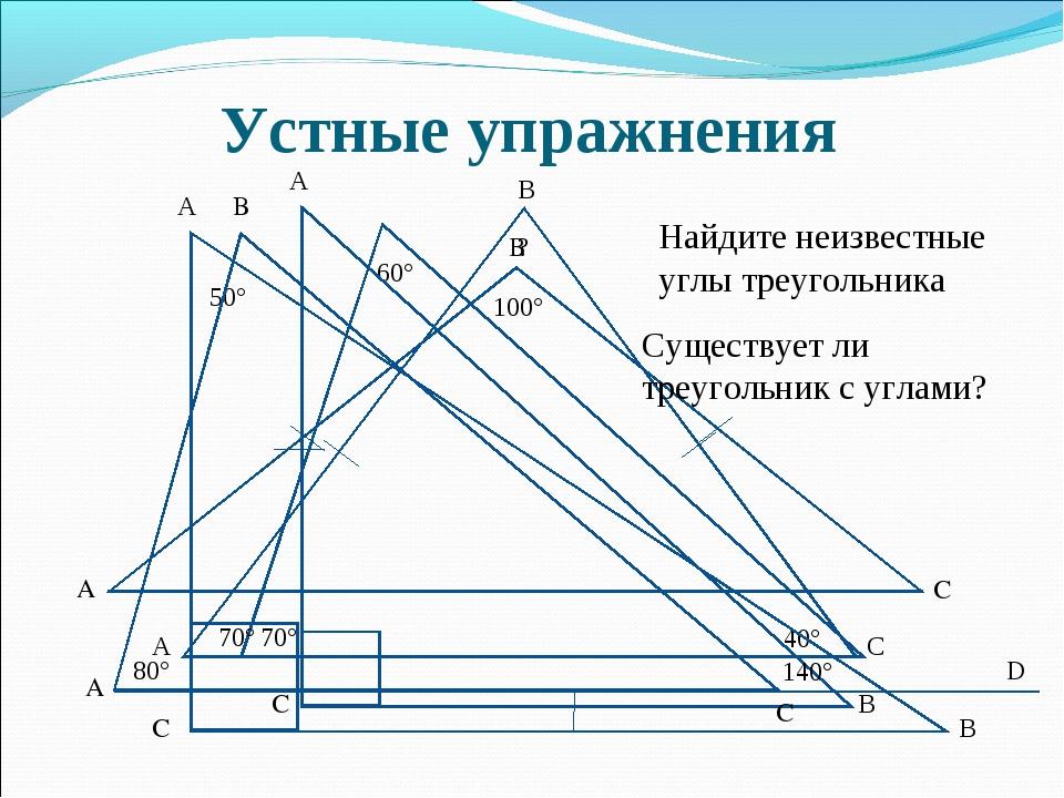 Устные упражнения 70° 60° 40° ? 70° А В С Существует ли треугольник с углами?...