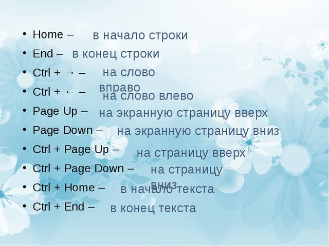 Home – End – Ctrl + → – Ctrl + ← – Page Up – Page Down – Ctrl + Page Up – Ctr...